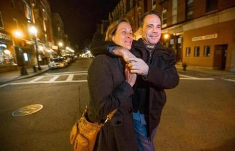 Karen Tamms and Jeremy Berkowitz of Boston, walked down the center of Hanover Street around 1:45 a.m. looking for a cab.